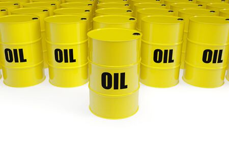 Yellow oil barrels with sign on a white background photo