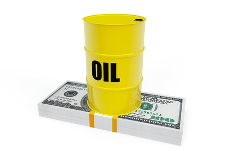 barell: Oil Barrel on a stack of dollars on a white background