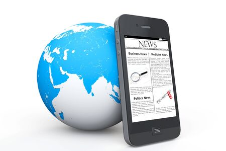 Global News Concept. News on Mobile Phone with Earth on a white background photo