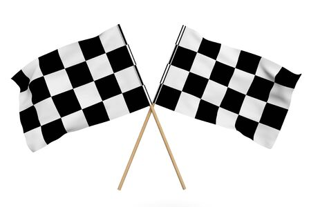 Checkered Racing Flags on a white background Stock Photo - 17094511