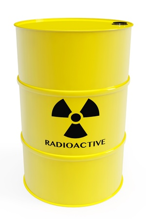 Yellow barrel with radioactive materials and warning sign on a white background