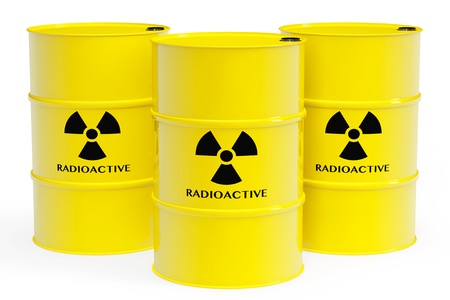 Yellow barrels with radioactive materials and warning sign on a white background photo