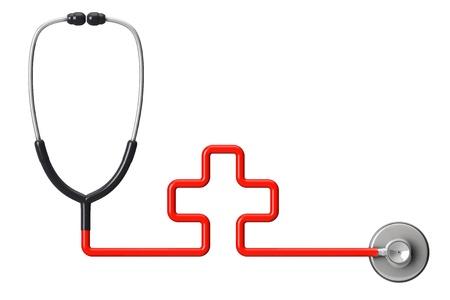 emergencia medica: Medicina concepto. En forma de cruz estetoscopio sobre un fondo blanco