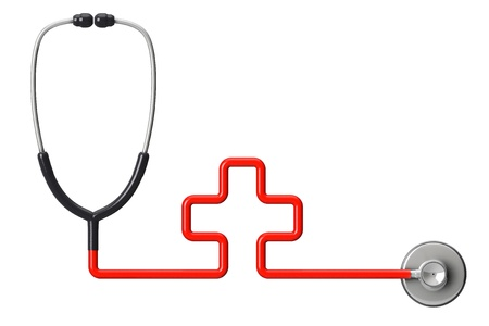 estetoscopio corazon: Medicina concepto. En forma de cruz estetoscopio sobre un fondo blanco