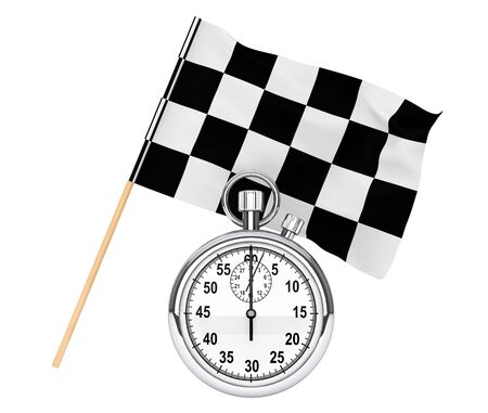 Sport concept. Stopwatch with checkered flag on a white background photo