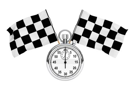 Sport concept. Stopwatch with checkered flags on a white background photo