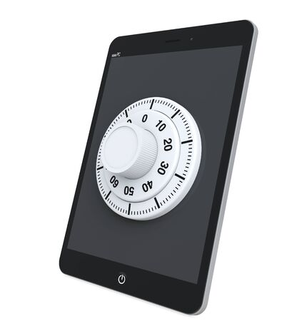 Security concept. Tablet PC with Lock on a white background Stock Photo - 17094508