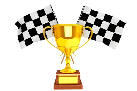 Racing concept. Golden Trophy and flags on a white background Stock Photo - 17094542