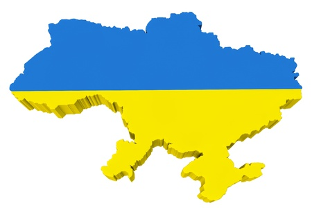 paraphernalia: Ukraine map with Ukraine flag on a white background