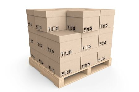 boxboard: Logistics concept. Cardboard boxes on wooden palette on a white background