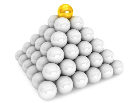 Pyramid with white and one golden balls on a white background Stock Photo - 17338873