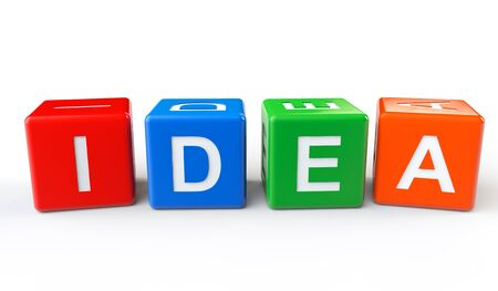 Cubes with Idea sign on a white background Stock Photo - 17338870