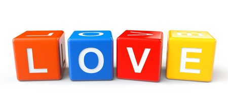 3d colorful blocks with love sign on a white background photo