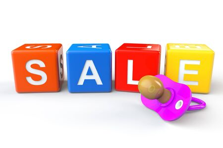 distract: Sale cubes with pacifier on a white background