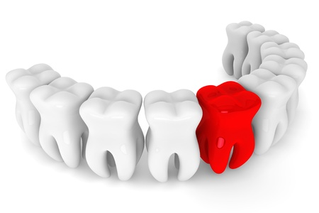 Stomatology concept. Bad red tooth on a white background photo