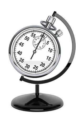 World time concept. Stopwatch as globe on a white background photo