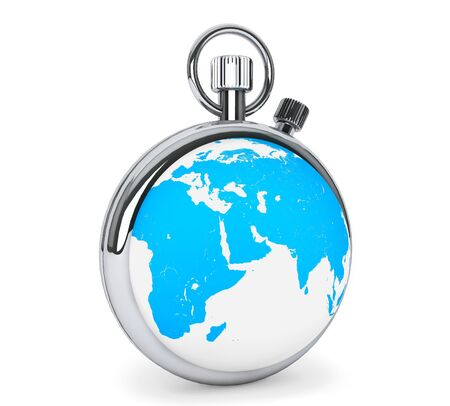 World time concept. Stopwatch as earth globe on a white background photo