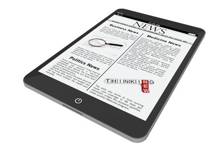 Tablet PC with News on a white background photo
