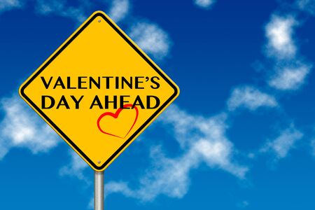 Valentines Day traffic sign on a sky background photo
