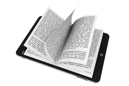 Book from Tablet PC on a white background 版權商用圖片