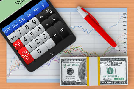Business Concept. Tablet PC with calculator, money and business chart on a wooden table photo