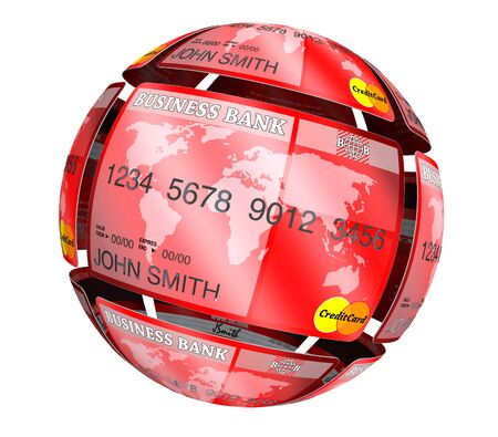Abstract sphere from credit cards on a white background photo