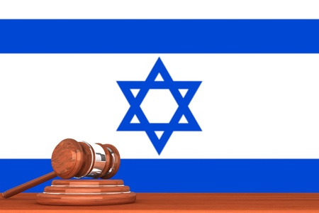 Wooden Justice Gavel with Flag Of Israel Stock Photo - 17632585