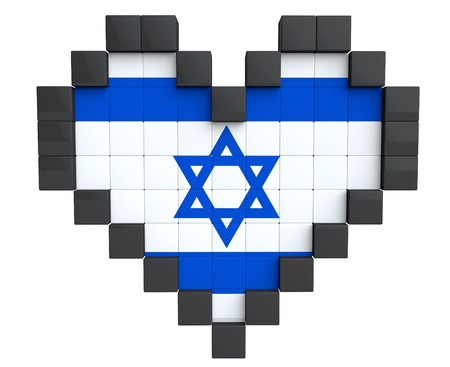 Pixel Heart as Israel Flag on a white background photo