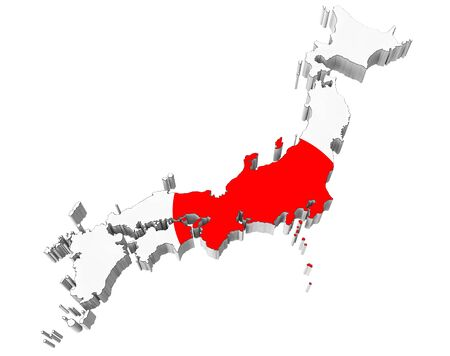 Map Of Japan In Israel Flag Colors On A White Background Stock Photo
