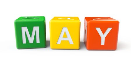 Cubes with May sign on a white background photo