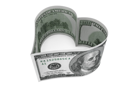 One hundred dollars bill as heart on a white background photo