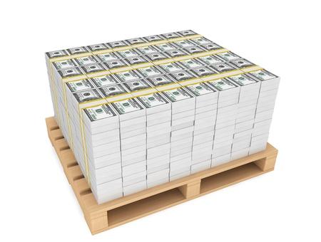 Stack av pengar med trä pallete på en vit bakgrund Stockfoto