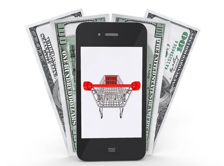 Mobile Phone with shopping cart on a screen and money on a white background Stock Photo - 17632613