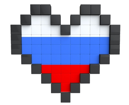 Pixel Heart as Russia Flag on a white background photo