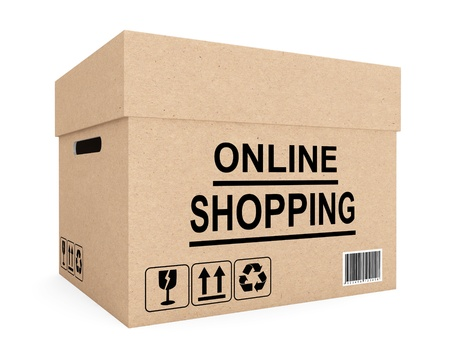 Online shopping concept. Cardboard box for shipping on a white background photo