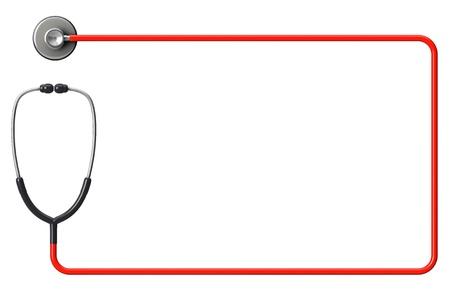 テキストのスペースを持つ白い背景の上のフレームとして赤で医者の聴診器