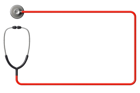 Doctors stethoscope in red as frame on a white background with space for text