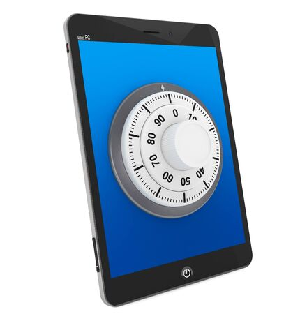 Security concept. Tablet PC with Lock on a white background photo