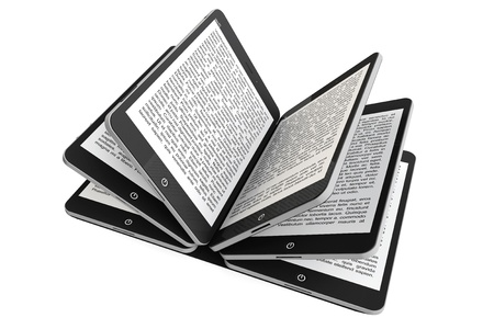 Tablet PC as Book pages on a white background photo