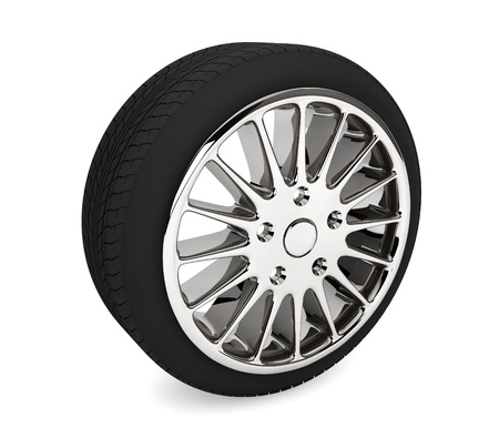 Wheel with steel rim on a white background Stock Photo - 17632590