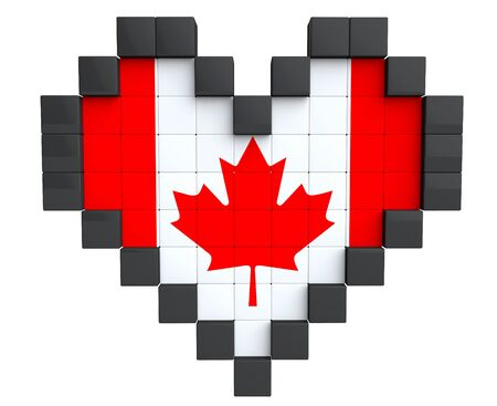Pixel Heart as Canada Flag on a white background photo