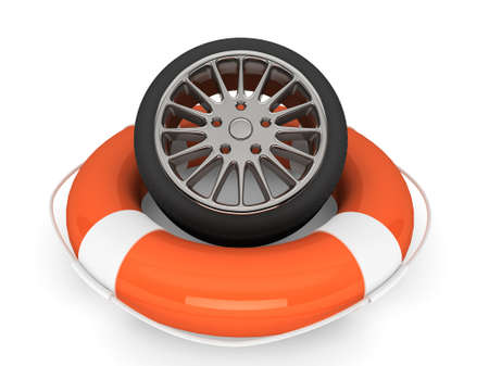 Car assistance concept. Lifebuoy with wheel tyre on a white background Stock Photo - 17632624