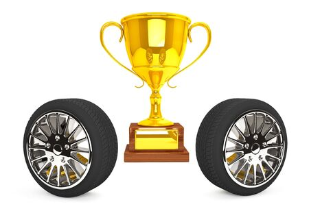 Gold Trophy with wheels on a white background photo