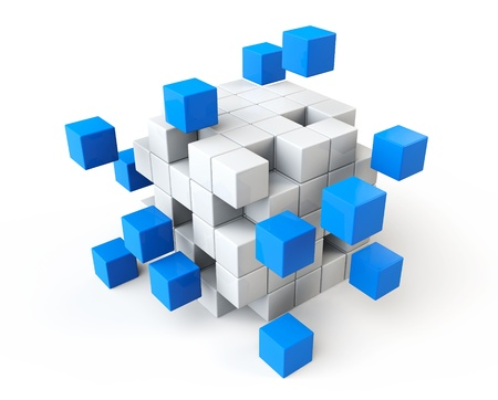 Teamwork Business-Konzept. Abstrakte blaue und weiße Würfel auf einem weißen Hintergrund