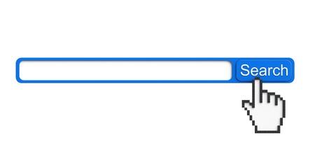 programing: Concepto de b�squeda en Internet. Navegador con el bot�n de b�squeda y de la mano de p�xeles sobre un fondo blanco Foto de archivo