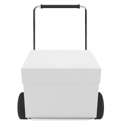 Online shopping concept. Box with cart on a white background Stock Photo - 17871889