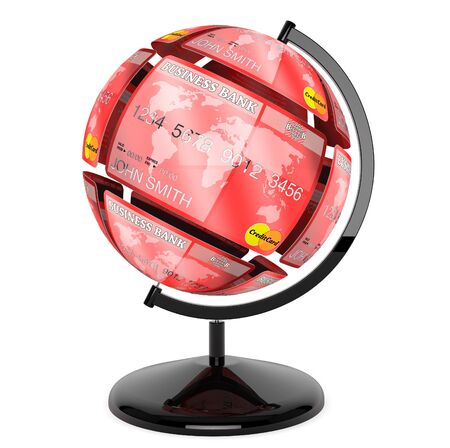 Abstract sphere from credit cards as globe on a white background photo