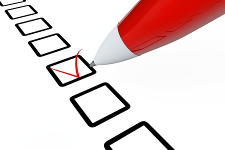 Pen drawing red mark in checklist box on a white background photo