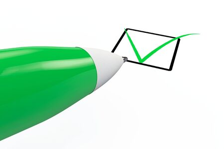 Pen drawing green mark in checklist box on a white background Stock Photo - 17871903