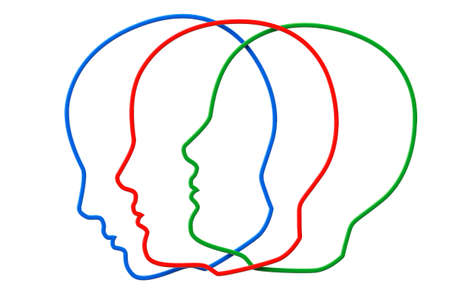 Creativity concept. Contours of three color head on a white background Stock Photo - 17871899